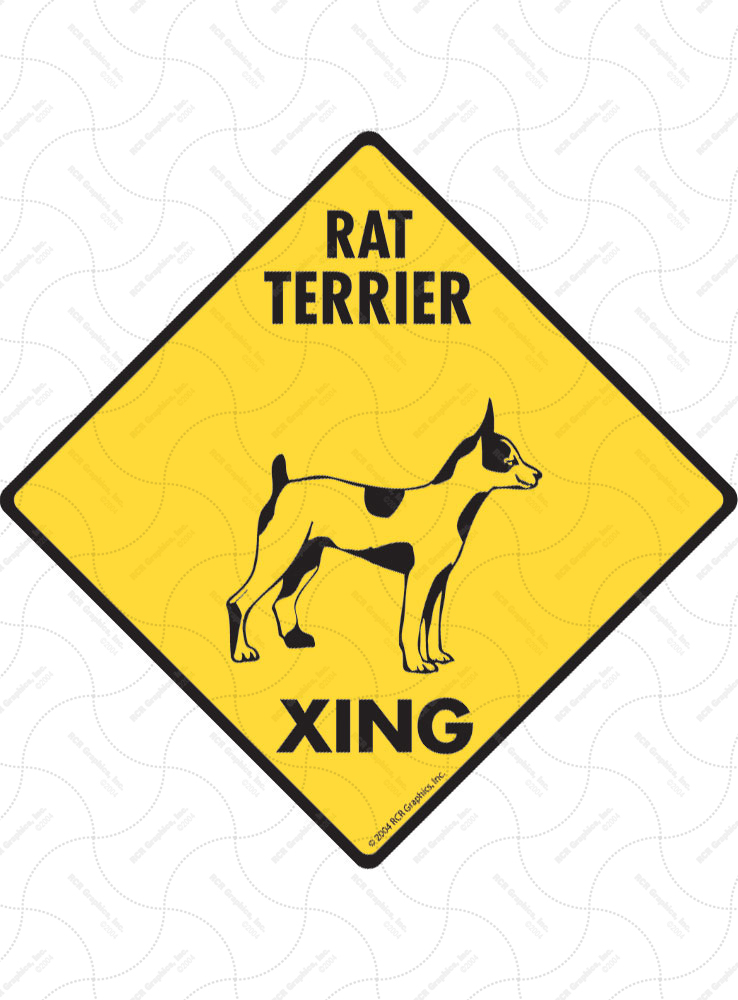 Rat Terrier Xing (Crossing) Dog Signs and Sticker