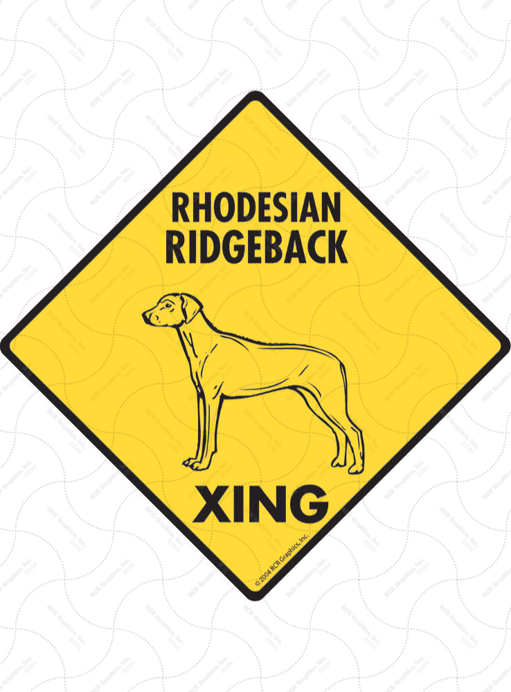 Rhodesian Ridgeback Xing (Crossing) Dog Signs and Sticker