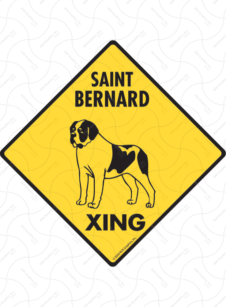 Saint Bernard Xing (Crossing) Dog Signs and Sticker