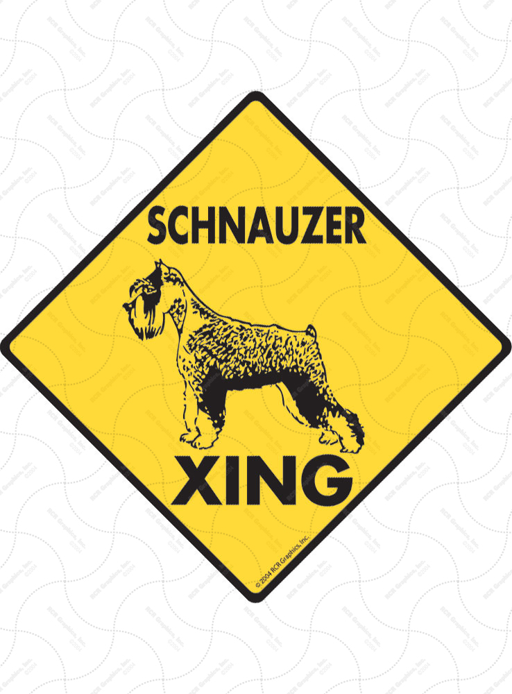 Schnauzer Xing (Crossing) Dog Signs and Sticker