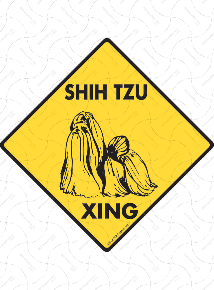 Shih Tzu Xing (Crossing) Dog Signs and Sticker