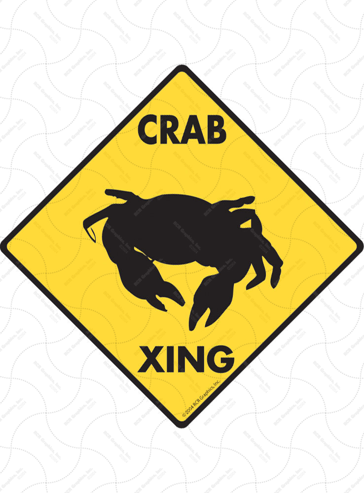 Crab Xing (Crossing) Animal Signs and Sticker