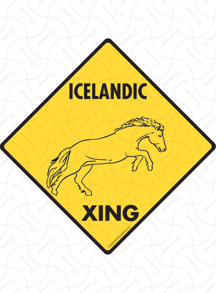 Icelandic Xing (Crossing) Horse Signs and Sticker