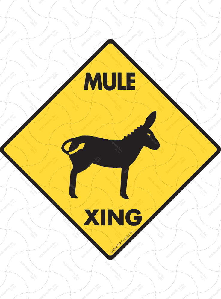 Mule Xing (Crossing) Horse Signs and Sticker