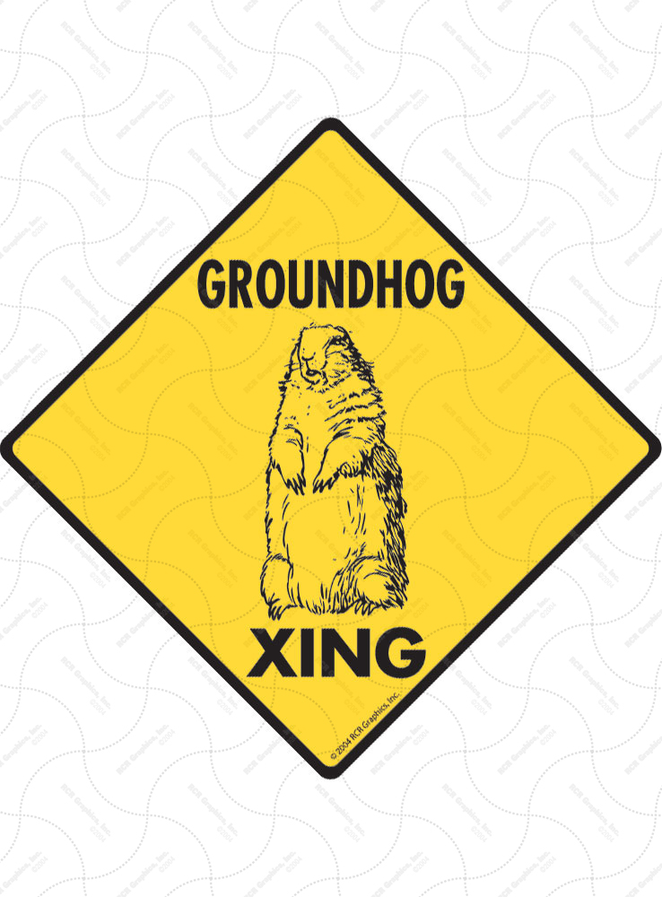 Groundhog Xing (Crossing) Animal Signs and Sticker