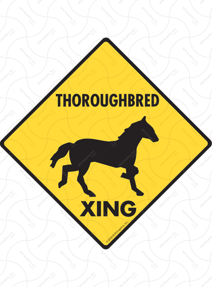 Thoroughbred Xing (Crossing) Horse Signs and Sticker