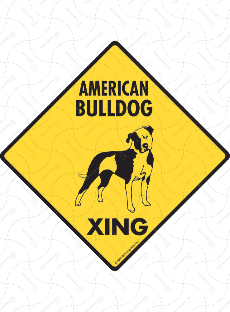 American Bulldog Xing (Crossing) Dog Signs and Sticker