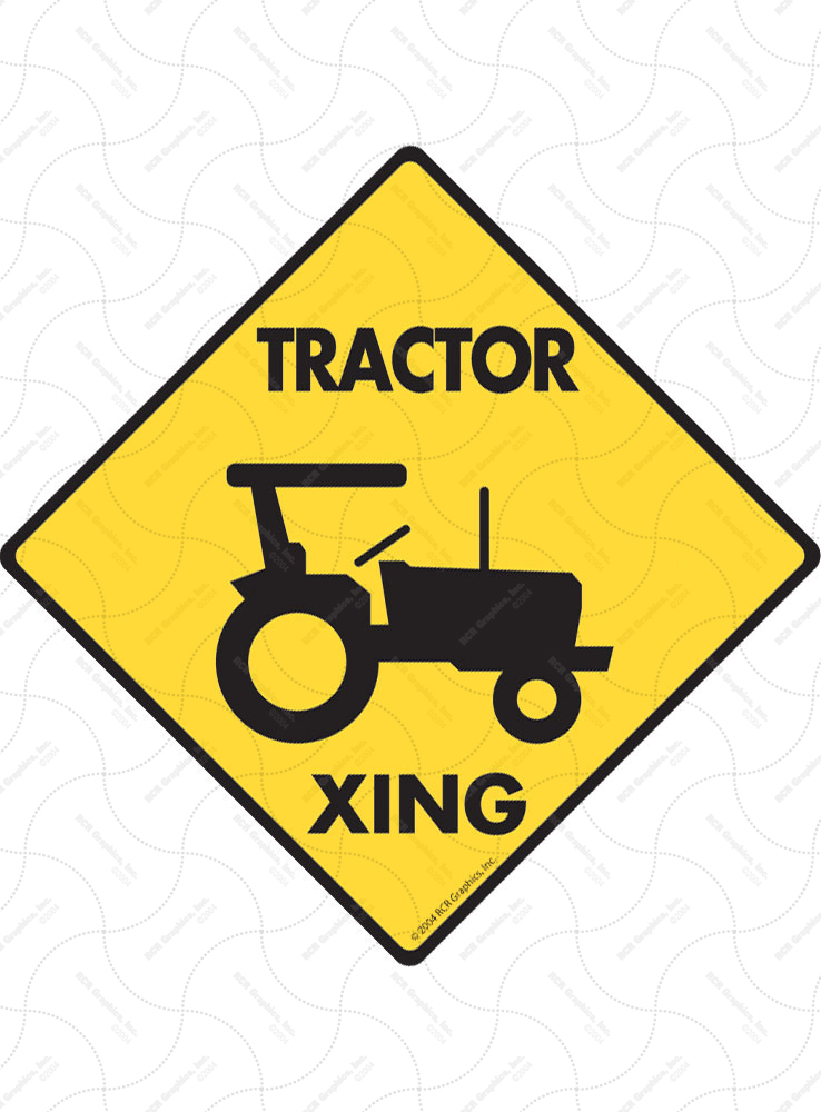 Tractor Xing (Crossing) Farm Signs and Sticker