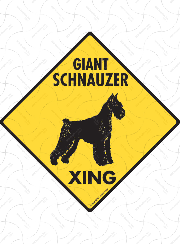 Giant Schnauzer Xing (Crossing) Dog Signs and Sticker