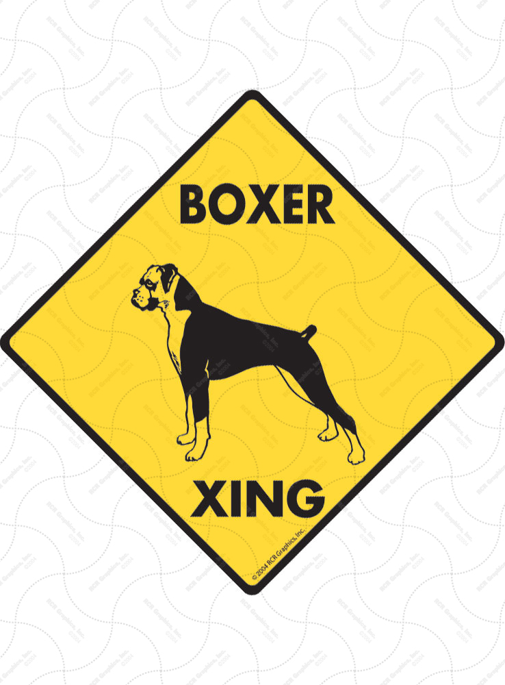 Boxer (Natural Ears) Xing (Crossing) Dog Signs and Sticker
