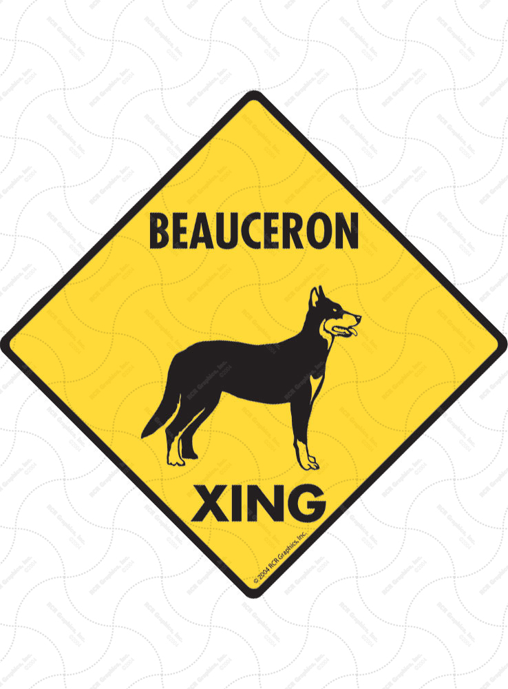 Beauceron Xing (Crossing) Dog Signs and Sticker