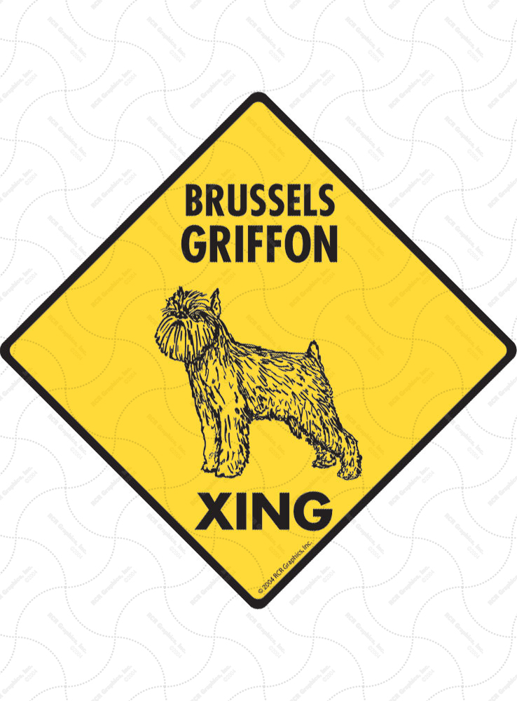 Brussels Griffon Xing (Crossing) Dog Signs and Sticker