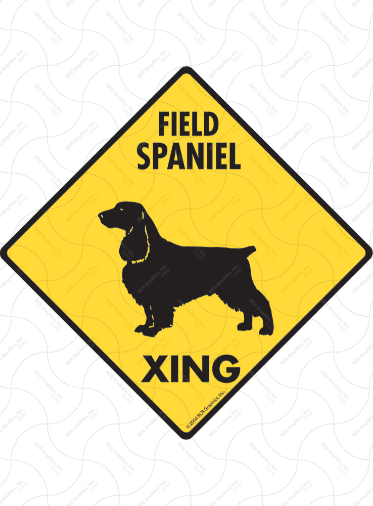 Field Spaniel Xing (Crossing) Dog Signs and Sticker