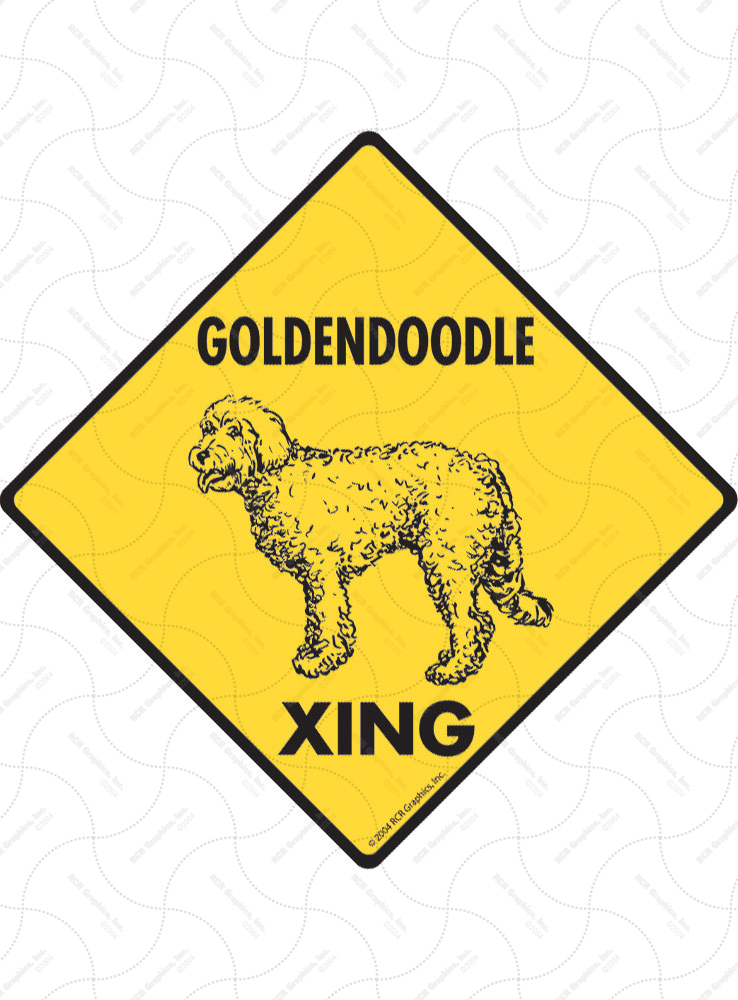 Goldendoodle Xing (Crossing) Dog Signs and Sticker