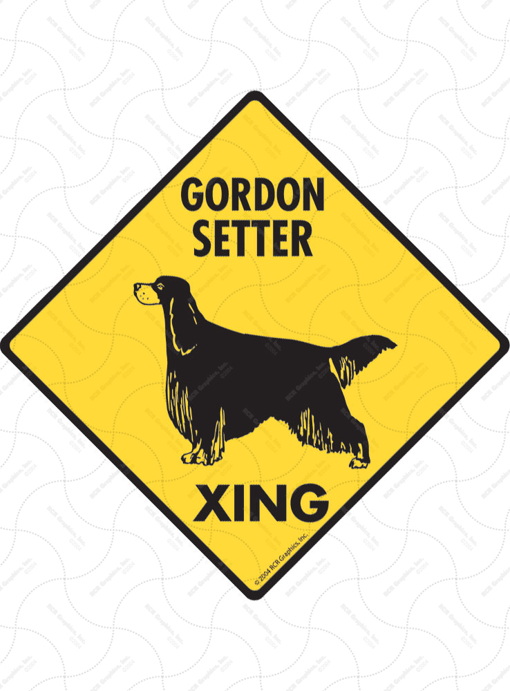 Gordon Setter Xing (Crossing) Dog Signs and Sticker
