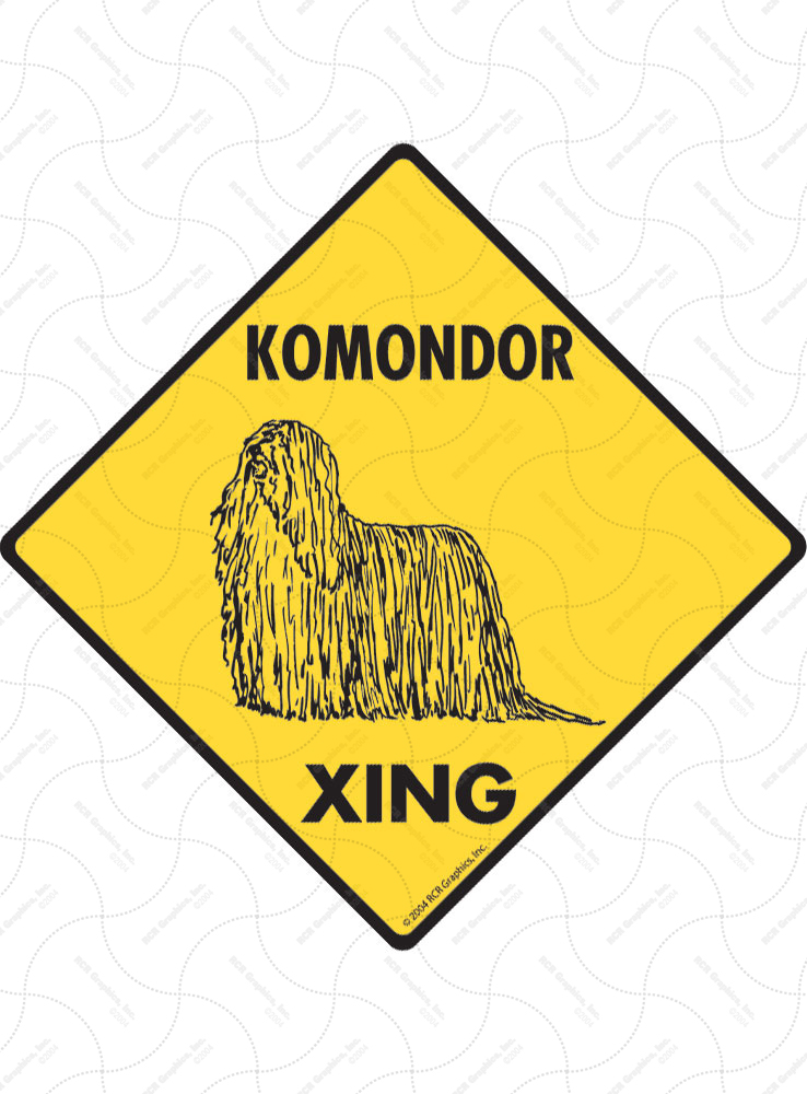 Komondor Xing (Crossing) Dog Signs and Sticker