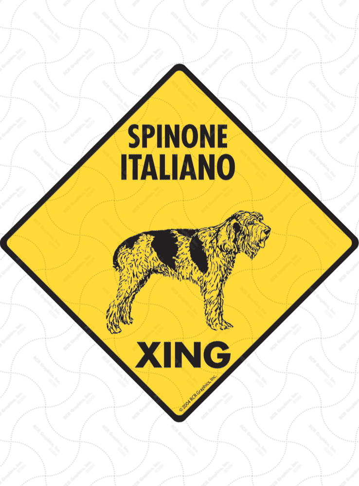 Spinone Italiano Xing (Crossing) Dog Signs and Sticker