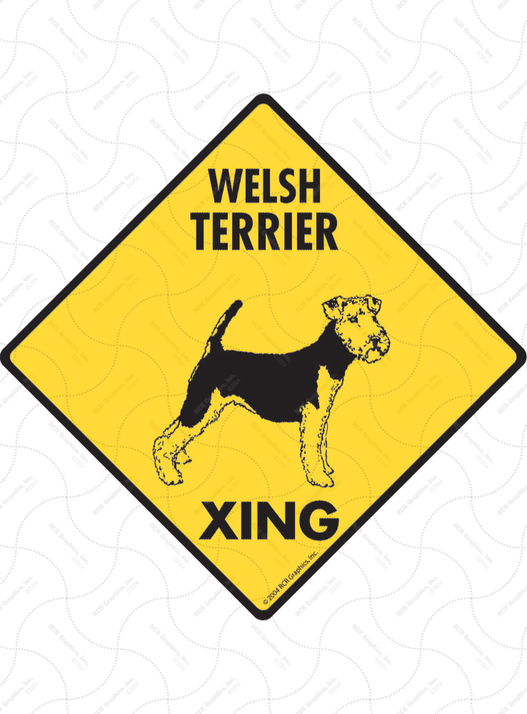 Welsh Terrier Xing (Crossing) Dog Signs and Sticker