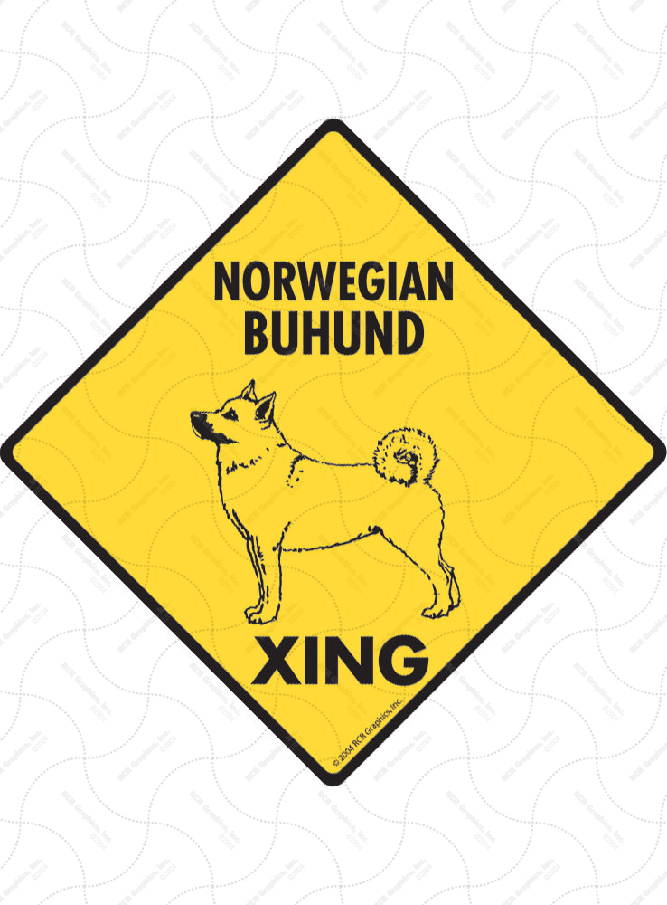 Norwegian Buhund Xing (Crossing) Dog Signs and Sticker