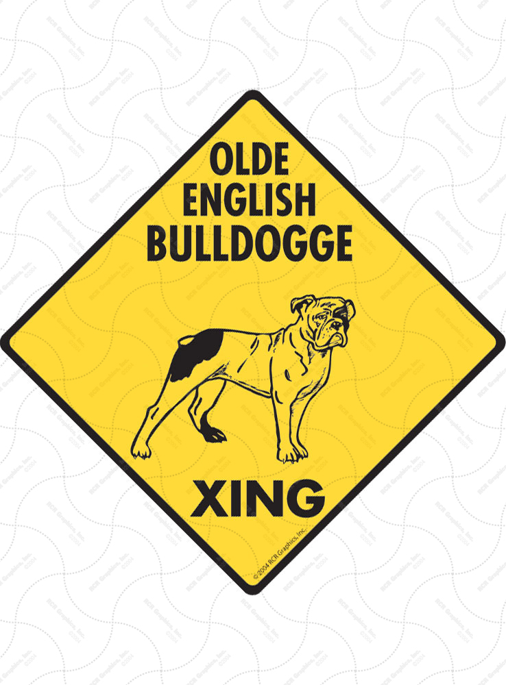 Olde English Bulldogge Xing (Crossing) Dog Signs and Sticker