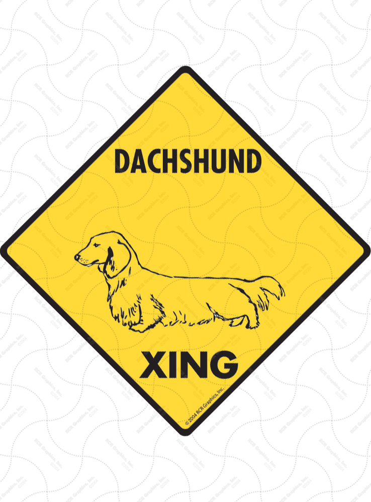 Dachshund (Long Hair) Xing (Crossing) Dog Signs and Sticker