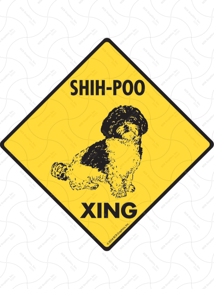 Shih-Poo Xing (Crossing) Dog Signs and Sticker