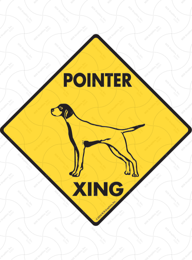 Pointer Xing (Crossing) Dog Signs and Sticker