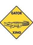Gator (Alligator) Xing (Crossing) Signs and Sticker