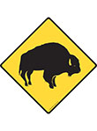Warning! Bison Animal Signs and Sticker