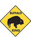 Buffalo Xing (Crossing) Animal Signs and Sticker