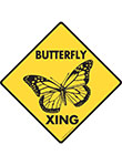 Butterfly Xing (Crossing) Animal Signs and Sticker