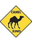 Camel Xing (Crossing) Animal Signs and Sticker