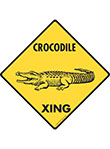 Crocodile Xing (Crossing) Reptile Signs and Sticker