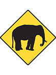 Warning! Elephant Animal Signs and Sticker