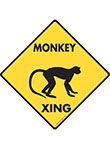 Monkey Xing (Crossing) Animal Signs and Sticker