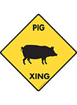 Pig Xing (Crossing) Animal Signs and Sticker