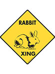 Rabbit Xing (Crossing) Animal Signs and Sticker