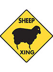 Sheep Xing (Crossing) Animal Signs and Sticker