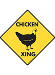 Chicken Xing (Crossing) Bird Signs and Sticker
