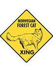 Norwegian Forest Cat Xing (Crossing) Signs and Sticker
