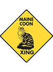 Maine Coon Xing (Crossing) Cat Signs and Sticker
