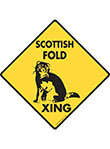 Scottish Fold Xing (Crossing) Cat Signs and Sticker