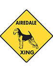 Airedale Terrier Xing (Crossing) Dog Signs and Sticker