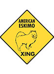 American Eskimo Xing (Crossing) Dog Signs and Sticker