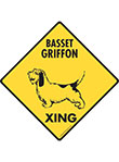 Basset Griffon Xing (Crossing) Dog Signs and Sticker