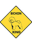 Bichon Frise Xing (Crossing) Dog Signs and Sticker