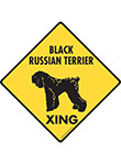 Black Russian Terrier Xing Dog Signs and Sticker