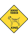 Border Terrier Xing (Crossing) Dog Signs and Sticker