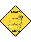 Briard Xing (Crossing) Dog Signs and Sticker