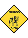 Bulldog Xing (Crossing) Dog Signs and Sticker